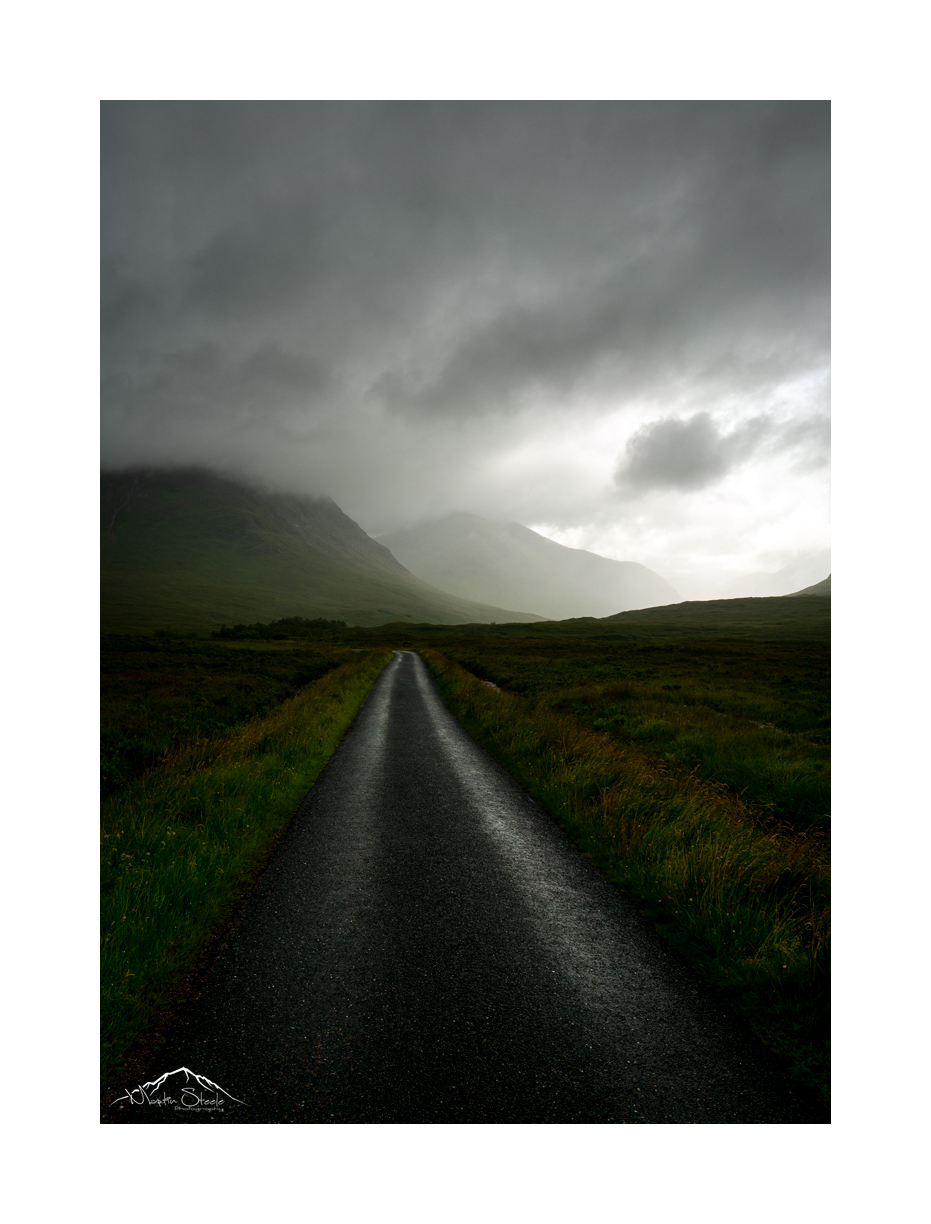 Glen Etive road shot into the light